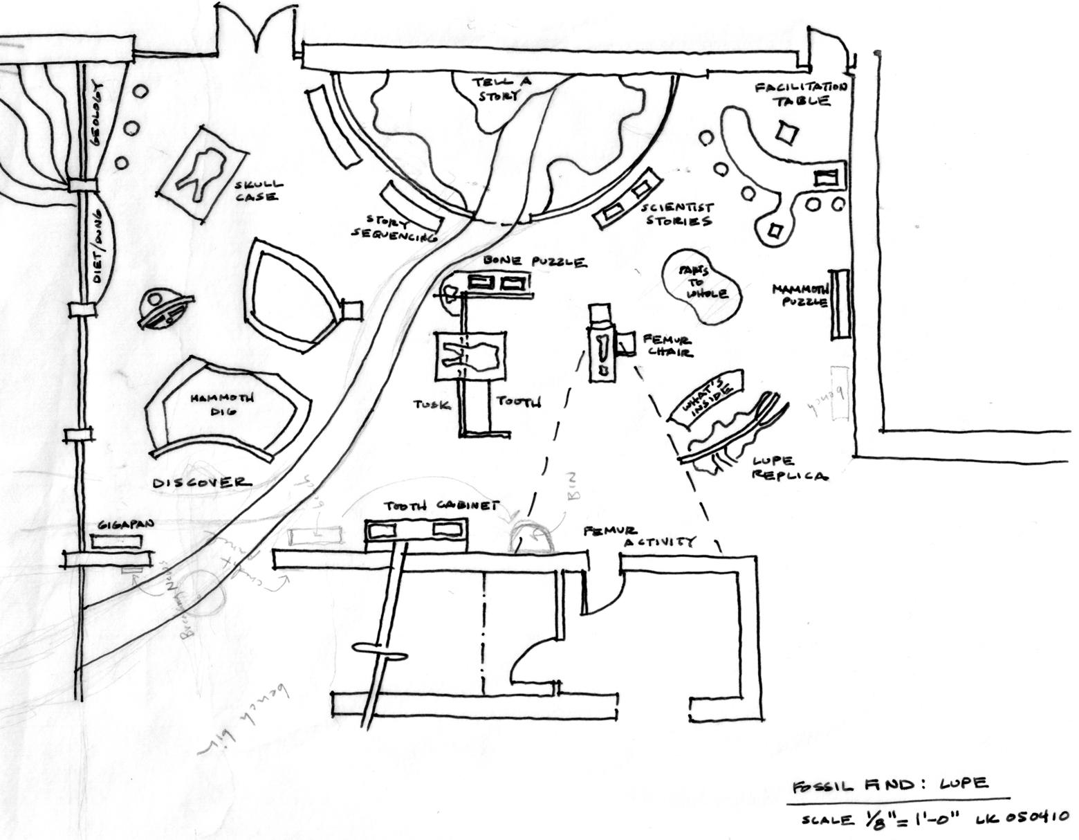 museum exhibit floor plan sketch coloring page view template